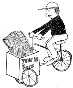 Dog in cart illustration