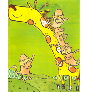 giraffe and monkeys 2
