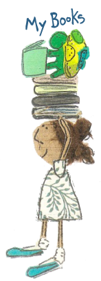 Girl with books illustration